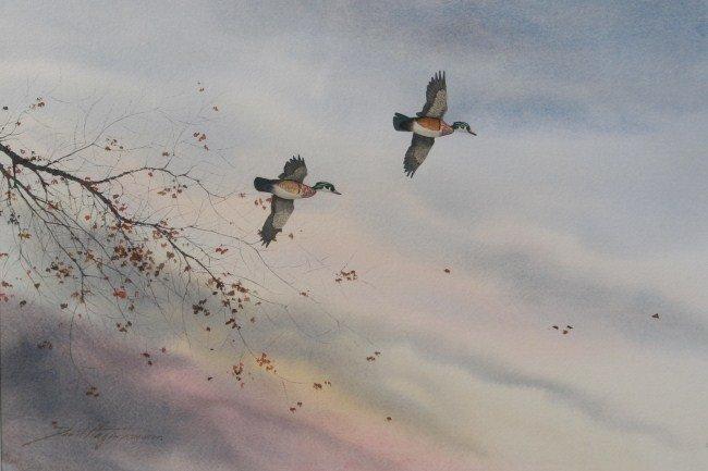 David Hagerbaumer (b. 1921), Wood Ducks in Flight
