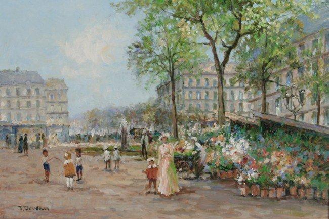 Manner of Jacques Deveau (b. 1937), Flower Market