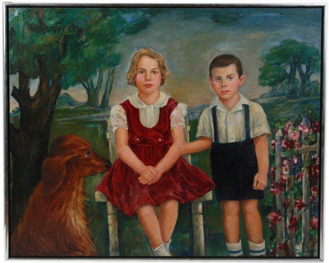 Anna Werbe (20th C.), Portrait of Children W/ Dog