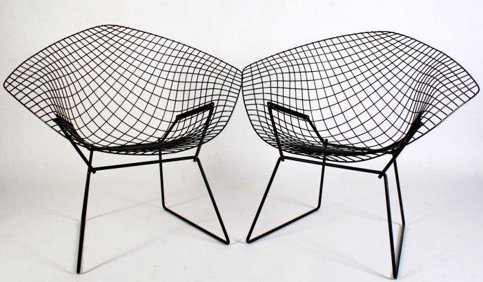 Pair Harry Bertoia Diamond Chairs By Knoll