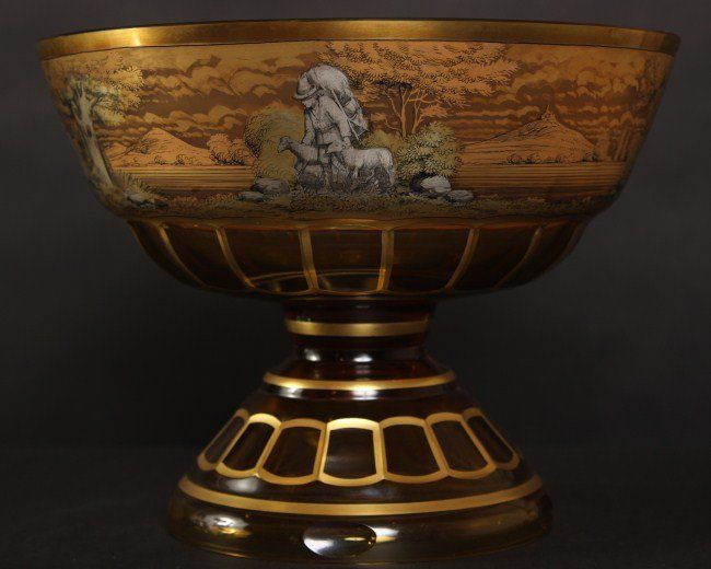 Moser Amber Glass Bowl, 19th or 20th C.