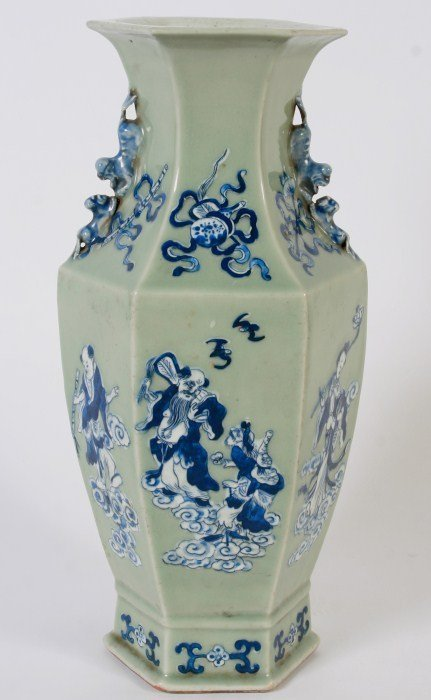 Celadon Hexagonal Porcelain Vase, Chinese, 20th C.