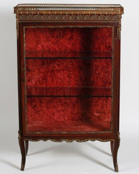 Louis XV Style Brass and Mahogany Vitrine Cabinet