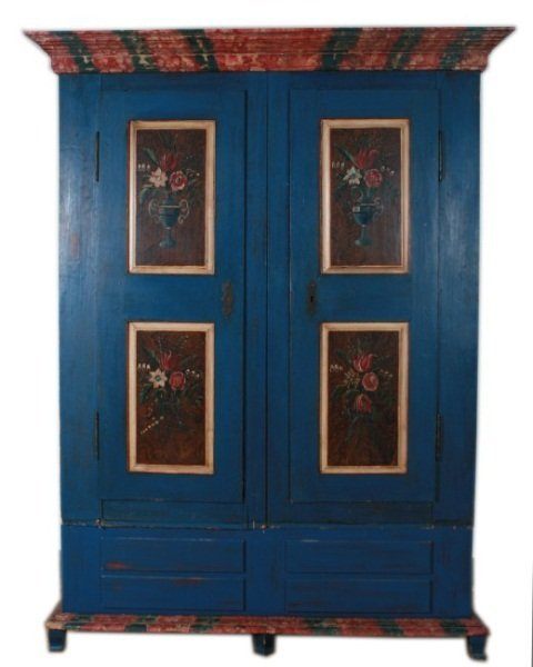 Painted Pine Armoire, Scandinavian,19th or 20th C.