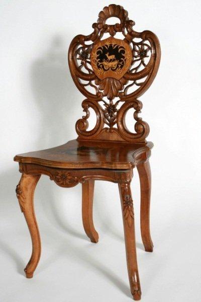 Black Forest Inlaid Walnut Music Chair, German