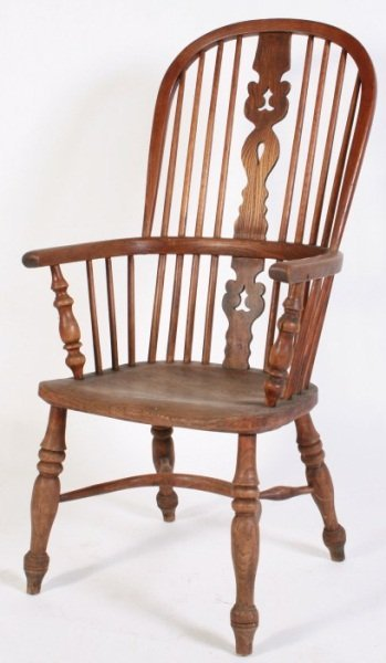 Elm High Back Windsor Armchair, English, 19th C.