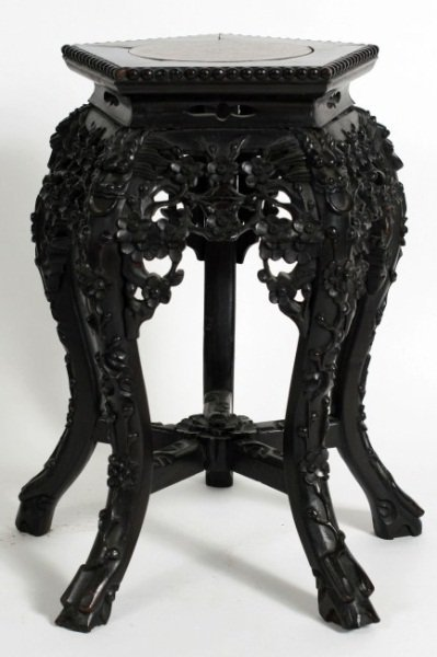 Carved Hardwood and Marble Tabourette