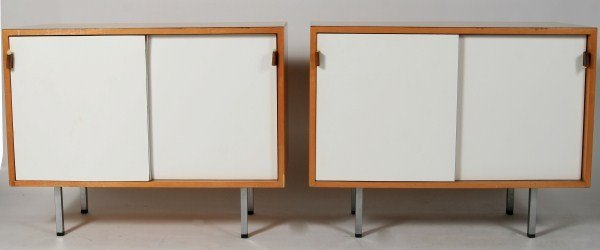 Pair Florence Knoll Maple and Laminate Cabinets
