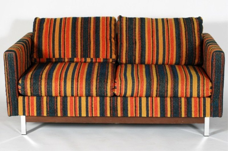 Selig Upholstered and Chrome Love Seat, 20th C.