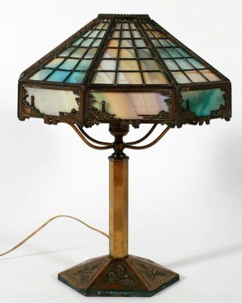Bradley & Hubbard Brass and Slag Glass Table Lamp