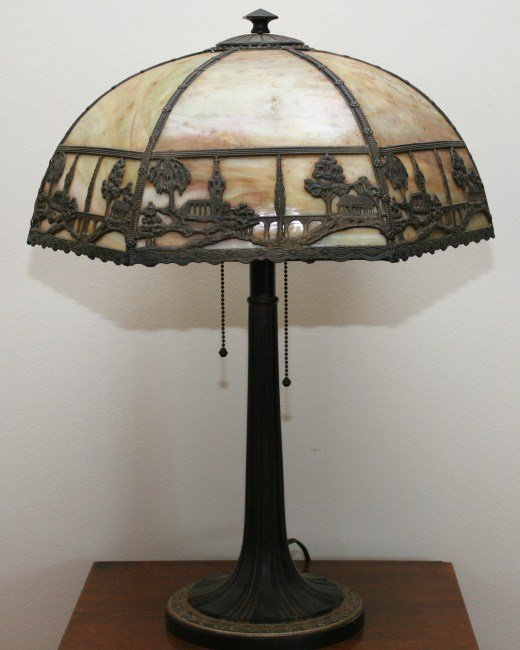 Patinated Metal and Slag Glass Table Lamp, 20th C.