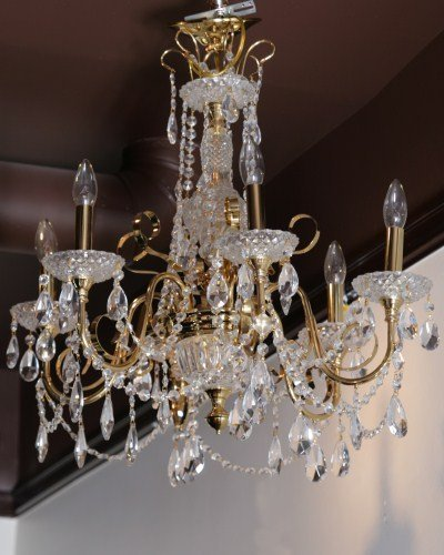 Neoclassical Style Brass Six Light Chandelier