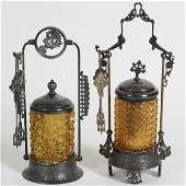 Two Victorian Amber Pressed Glass Pickle Castors