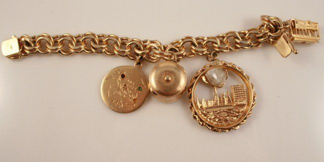14K Gold Charm Bracelet with Four Charms