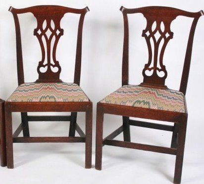 Pair George III Side Chairs, English, Late 18th C