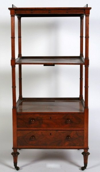 Regency Rosewood Three-Tiered Whatnot, 19th C.