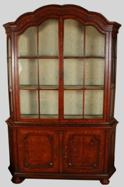 Fruitwood Marquetry China Cabinet, 19th C.