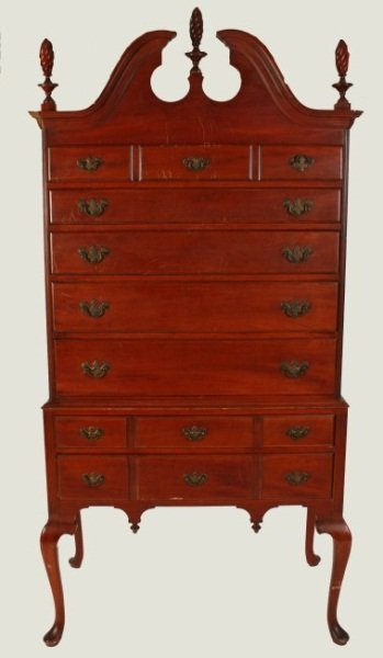 Chippendale Style Mahogany Highboy, Late 19th C.