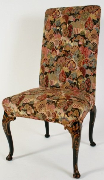 Chippendale Chinoiserie Upholstered Side Chair
