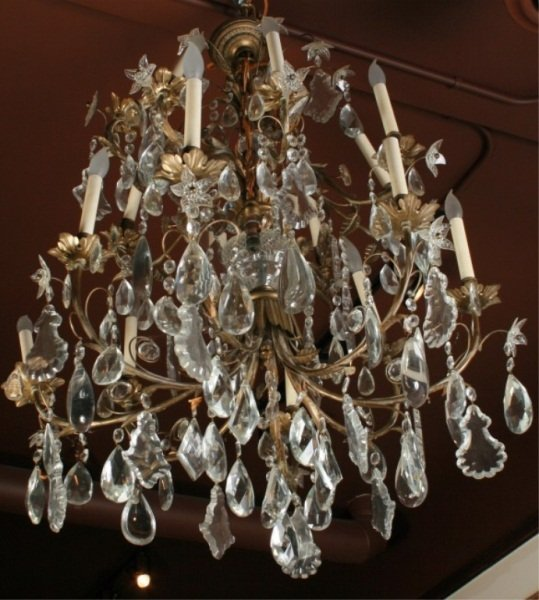 Crystal & Brass 16-Arm Chandelier, Late 19th C.