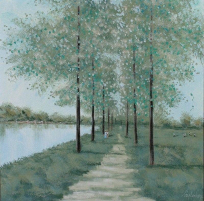 Stephen Kaye (20th C.), Treelined Promenade
