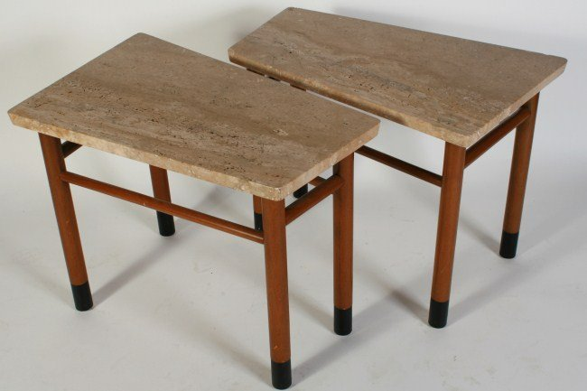 Wormley Travertine Top Trapezoid Side Tables