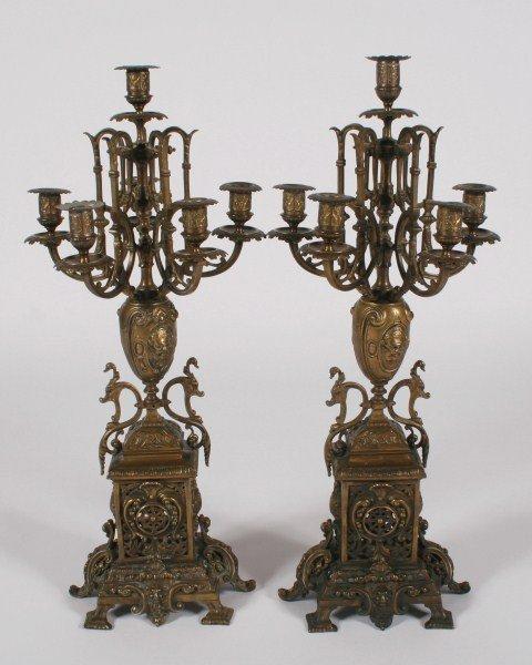 Pair Renaissance Style Bronze Candelabra