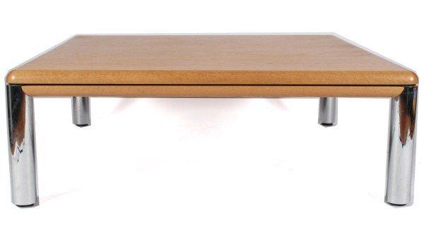 Knoll Wood and Chrome Coffee Table