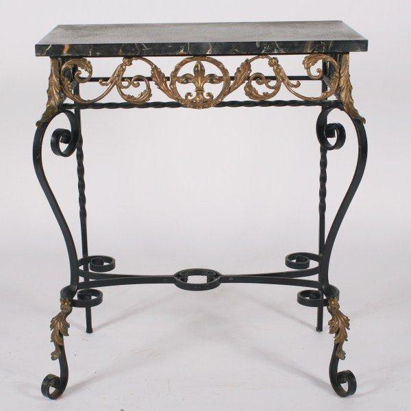 Oscar Bach Style Wrought Iron Console Table