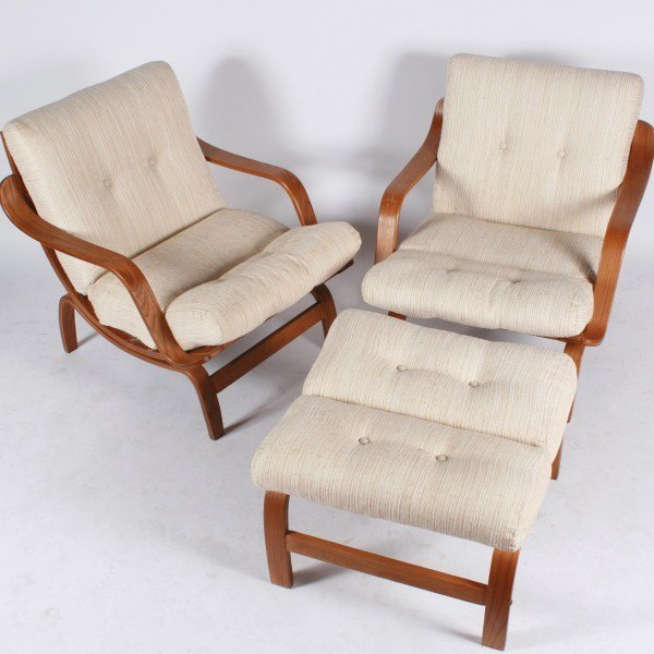 Pair of Danish Bentwood Lounge Chairs and Ottoman