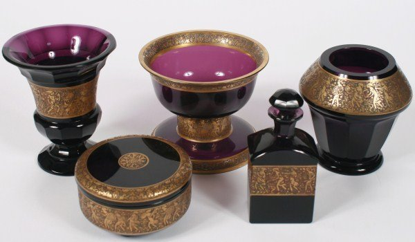 Assorted Group of Moser Amethyst Glass Articles