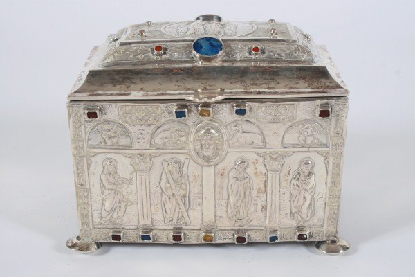 Continental Silver Jeweled Reliquary Casket