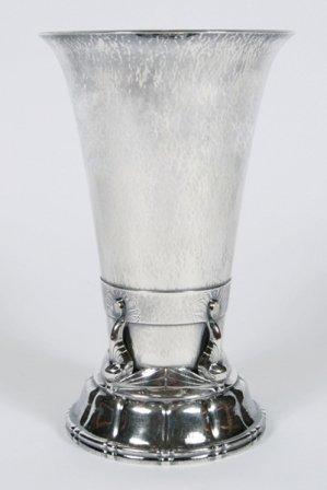 Georg Jensen Sterling Silver and Moonstone Vase