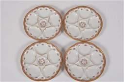 Set of Four Limoges Porcelain Oyster Plates