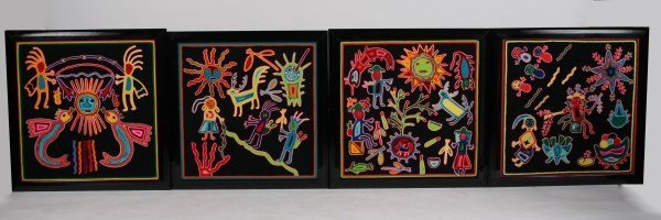 Set of 4 Mola Textiles Attrib. to Kuna People