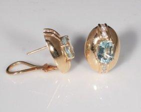 Pair Of 14k Gold Aquamarine And Diamond Earrings
