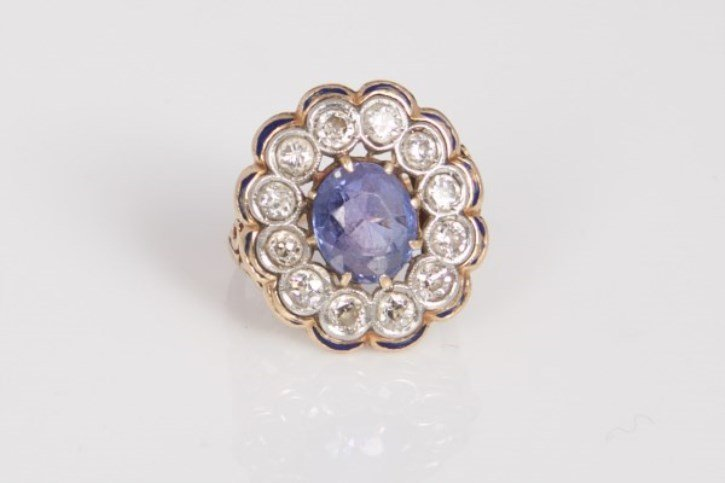Lady's Sapphire, Diamond & 14k Gold Cocktail Ring