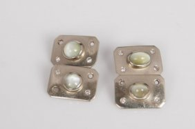 Pair Of Cats Eye And Diamond Cuff Links