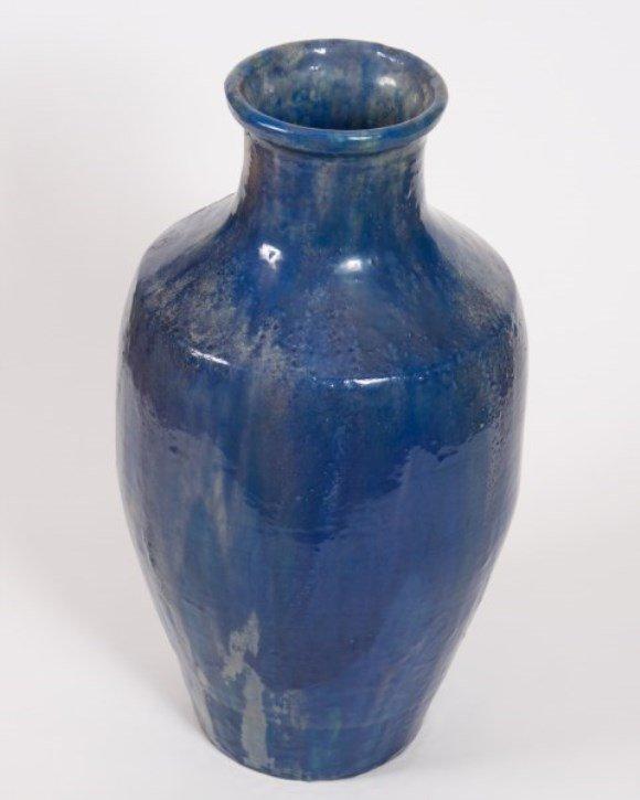 Large Pewabic Blue Iridescent Pottery Vase