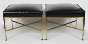 Pair Paul Mccobb Upholstered And Brass Ottomans