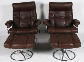 Pair Ekornes Stressless Swivel Lounge Chairs
