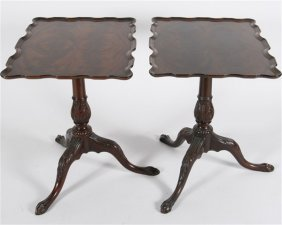 Pair Of Chippendale-style Tea Tables