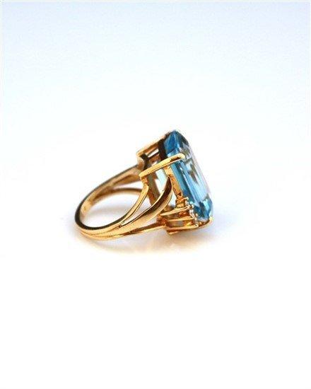 Ladies 14K Gold, Blue Topaz, and Diamond Ring - 2