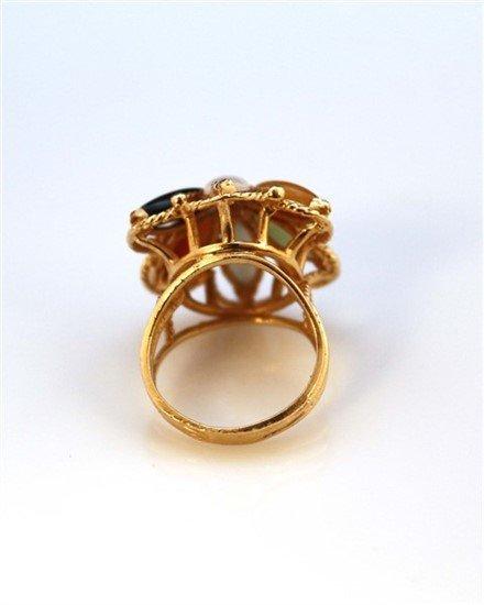 Ladies 14K Gold, Blue Topaz, and Diamond Ring - 3