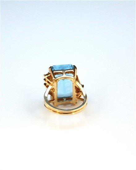 Ladies 14K Gold, Blue Topaz, and Diamond Ring - 5