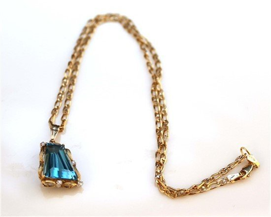Ladies 18K Gold, Blue Topaz, and Diamond Necklace