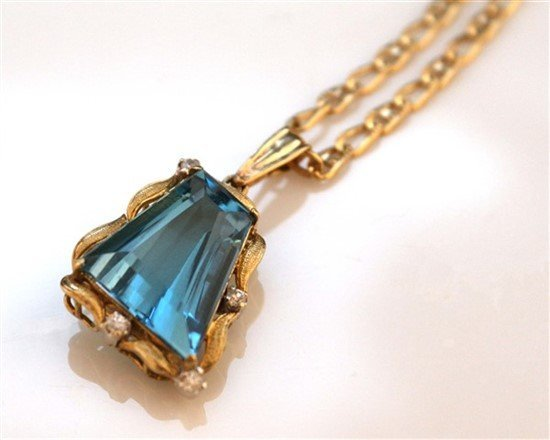 Ladies 18K Gold, Blue Topaz, and Diamond Necklace - 2