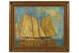 Roy C. Gamble (1887-1972), Sailboat Oil Painting