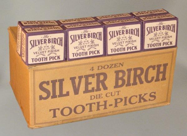 4: Lot of Nos Silver Birch Tooth Picks & Box