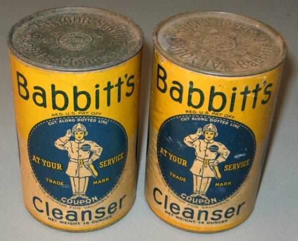 17: 2 Nos Tins Babbitt's Cleanser
